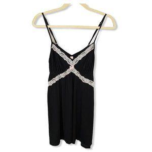 Victoria's Secret Black Cami with White Lace, L